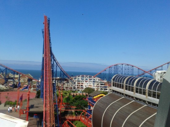 Blackpool Pleasure Beach: view from the revoloution