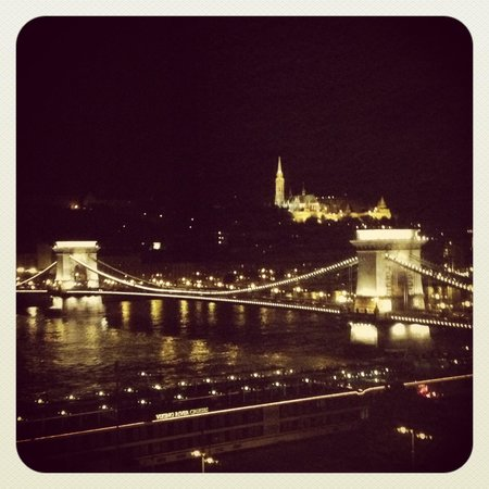 Sofitel Budapest Chain Bridge: Evening view from my room
