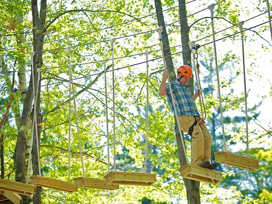 Mount Sunapee, NH: Swinging Steps - Part of the Aerial Challenge Course