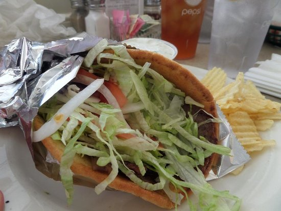 Famous Subs & Pizza: The basic gyro at Famous, served with potato chips and a pickle