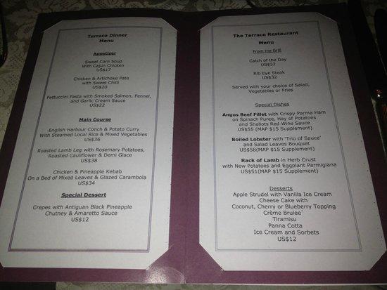 The Inn at English Harbour : Terrace menu...mmmm