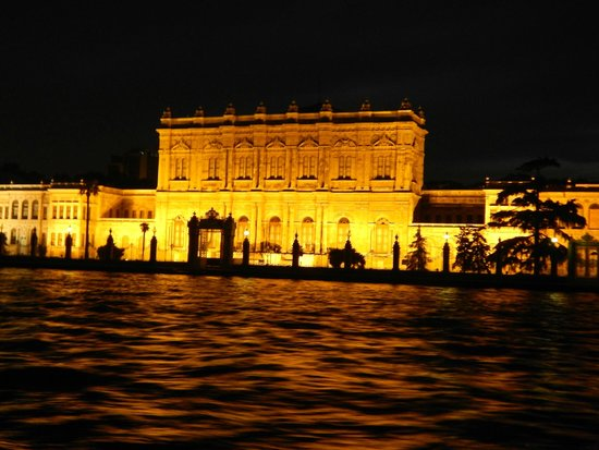 Bosphorus Strait: Night time view of a palace on the shore