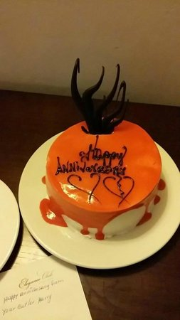 Majestic Elegance Punta Cana: Anniversary cake delivered to our room by our butler