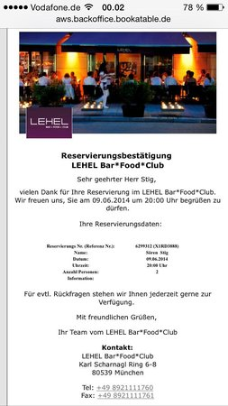 Lehel Bar Food Club: Booking confirmation, but the place was closed
