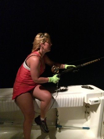 Sharkslayer Fishing Charters: Heather Grizzaffe the night of her BIG bull Shark on June 15 2014