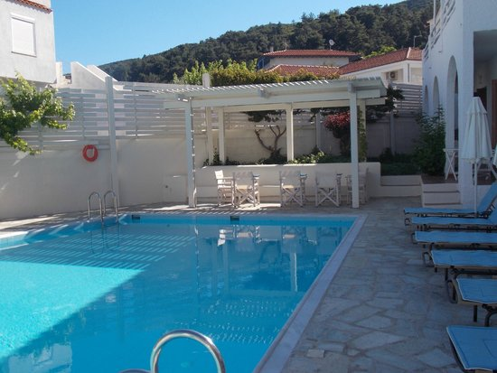 Skopelos Village: From pool area with steps to our balcony