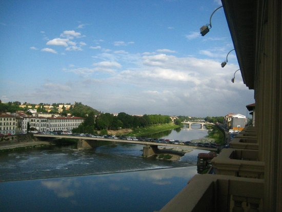 The Westin Excelsior Florence: Arno river view westward from room 422, May 2014