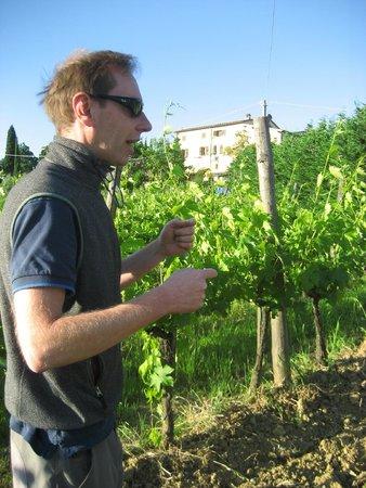 Agriturismo Marciano : Christian mostrando sus viñedos