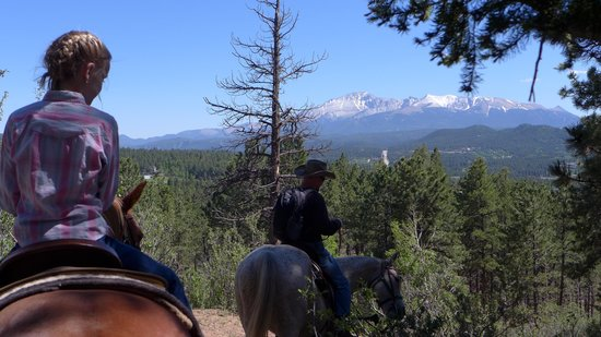 Triple B Ranch: View of Pikes Peak on the Trail Ride