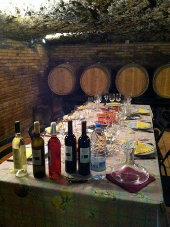 Spanish Trails by Alba Programas: Lunch in the wine cellar during Wine Trails tour