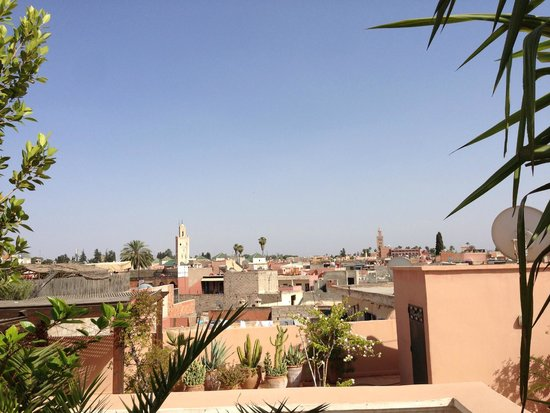 Riad Kniza: View of the medina from the rooftop terrace.