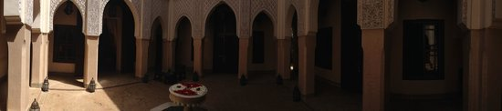 Panoramic view of Riad Kniza courtyard.