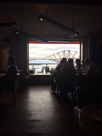 Samphire Seafood Bar & Grill at Orocco Pier: view of Forth Road Bridge from our booth