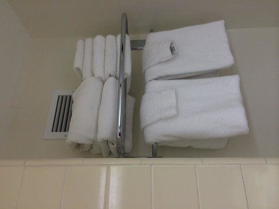 Howard Johnson Anaheim Hotel and Water Playground : Towels in the bathrrom, Double Queen, Building 2