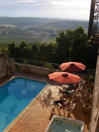 Camp Biche pool terrace and hot tub