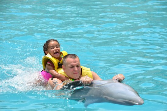 Dolphinaris Cozumel: Daughter going for a ride.