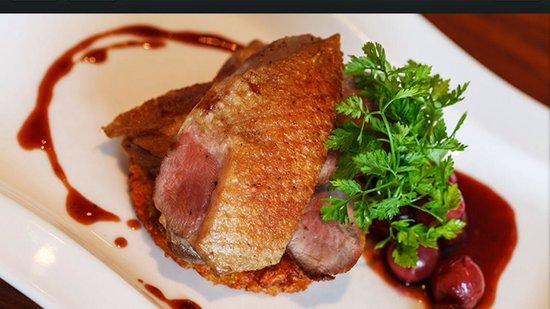 Pan Roasted Duck Breast With Black Cherry Jus Picture Of Aubergine