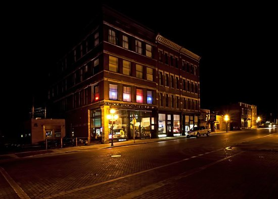 Deadwood Dick's sparkles at night time