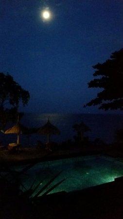 Sunset House Lombok : Moonlit pool view