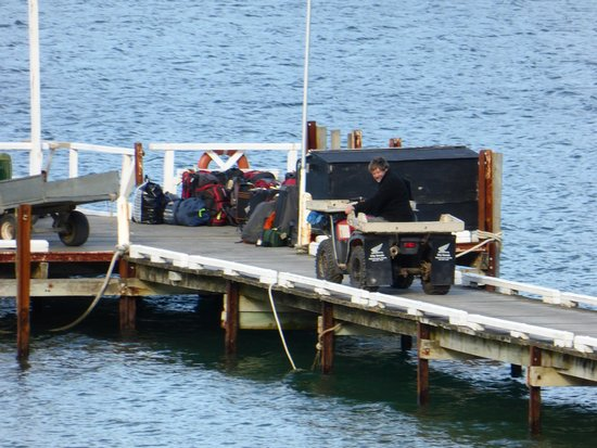 The No Road Inn : Luggage positioned for the water taxi to move to the next night's lodging.