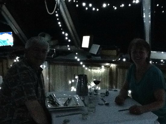 Reef Encounter: Dinner in the Wheelhouse...blurry but you get the idea