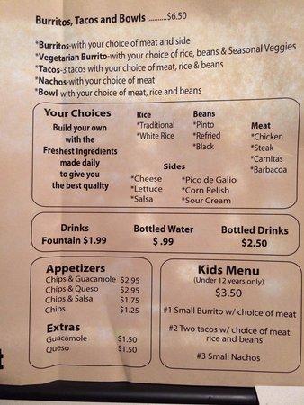 Ray's Burrito Bar : Menu