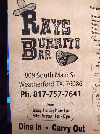 Ray's Burrito Bar : Location/hours