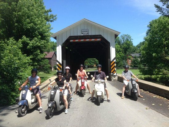 Strasburg Scooters: Our group at one of the covered bridges