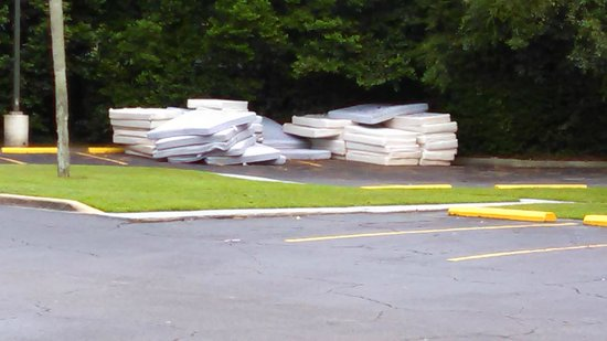 Red Roof Inn Tallahassee: The pile of old beds that have been getting rained on, and then stinking in the FL sun