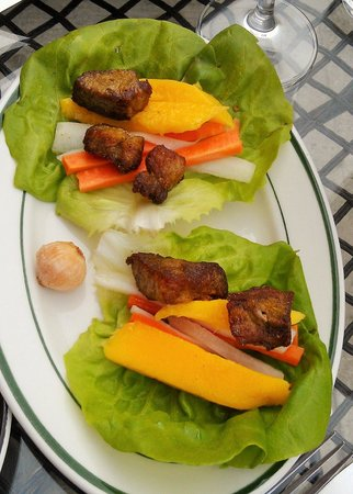 Rare Earth Wine Bar: Curried Fried Pork Lettuce Wrap