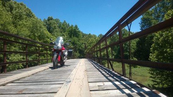 Swinging Bridge: Wood deck, a little creepy!