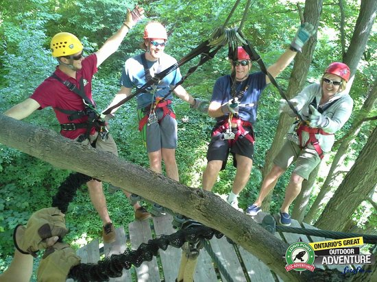 Long Point Eco-Adventures: Hanging off the platform.