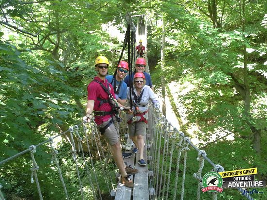 Long Point Eco-Adventures: On the suspension bridge.