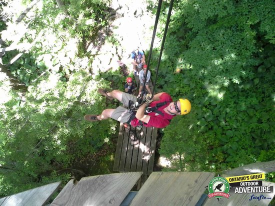 Long Point Eco-Adventures: Repelling from the platform.