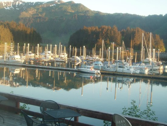Seldovia Boardwalk Hotel: View from a downstairs room, facing the marina.