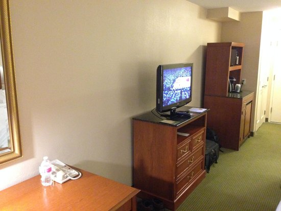 Hilton Garden Inn Seattle/Renton : TV,  Fridge and Desk