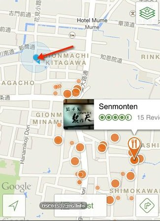 Senmonten is where the red arrow points, not the TA location.