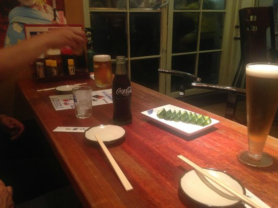 Senmonten: Just before Gyoza arrive.  You make your own sauce!