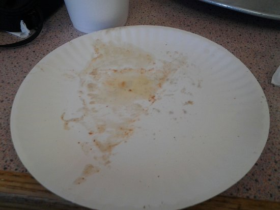 Tony's Pizza: My post-pizza paper plate...oily!!!