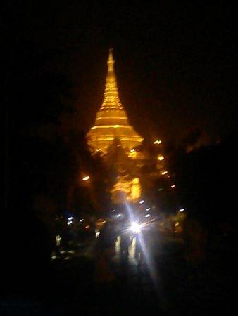 Shwedagon Pagoda: Reflection in the dark of night