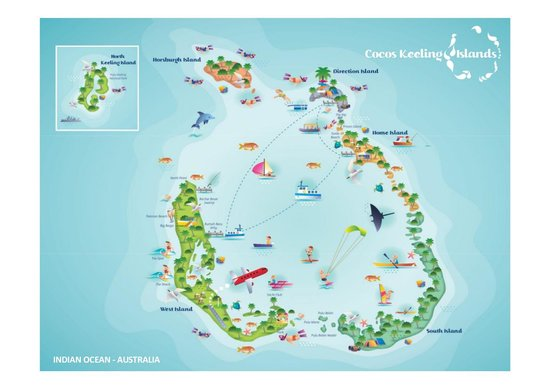 Home Island Part Of Cocos Attol Picture Of Cocos Keeling - Cocos islands map