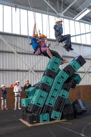 Calshot Activity Centre: Crates stack is one of the many high ropes. see how high you can get without falling off.