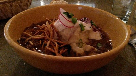 Buck's Grill House: Elk stew with mashed potatoes, fried potato strings and horseradish cream.
