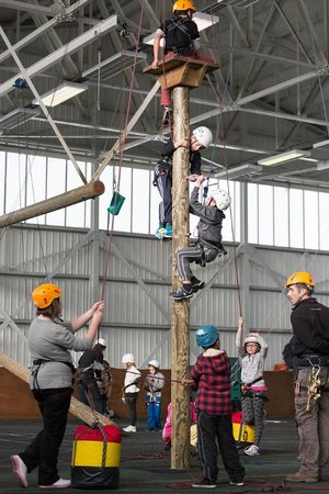 Calshot Activity Centre: Peg Pole is another of our high ropes, based inside one of our hangers.