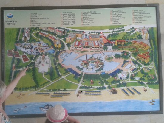 map located in lobby Picture of Pegasos World Hotel Manavgat