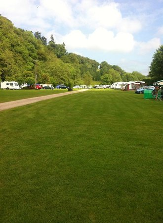Exe Valley Caravan Site : View of the camp site from the shop area