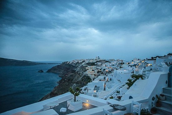 Gabbiano Apartments : View from our terrace - stormy Santorini has a certain charm