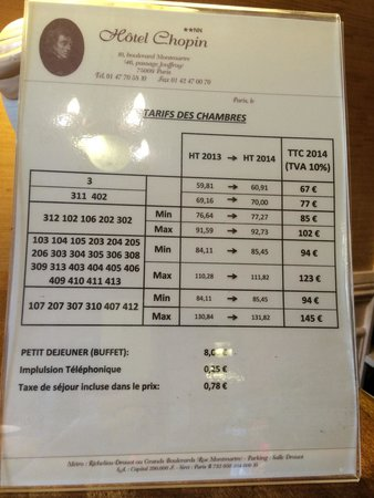 Hotel Chopin: Room rate stated clearly on their website. This chart show the room number and type.