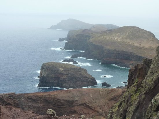 Ponta de Sao Lourenco: Vue fin de la rando (sous la pluie)