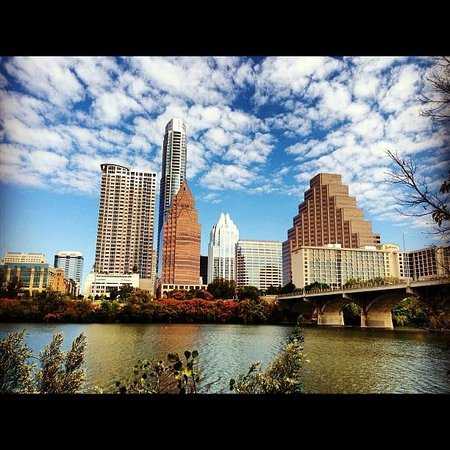 Lady Bird Lake Hike-and-Bike Trail: View from south of the lake near Hyatt hotel.